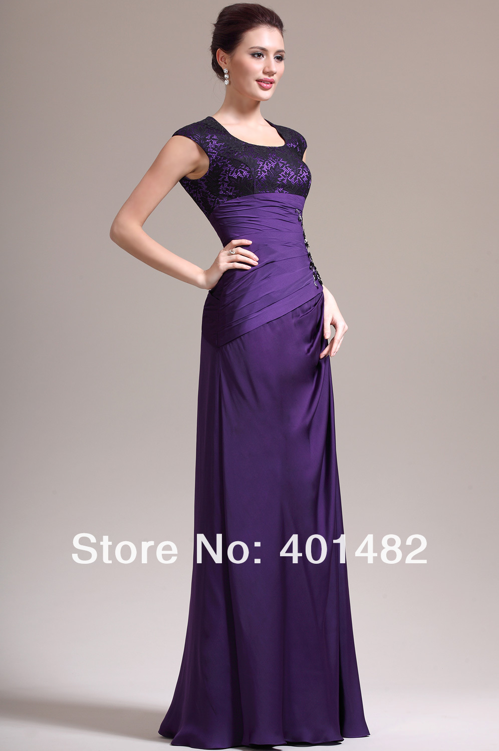 Women Formal Dresses New Adorable Cap Sleeves Purple Mother Bride - Elaine Fashion --- 100% Satisfaction store