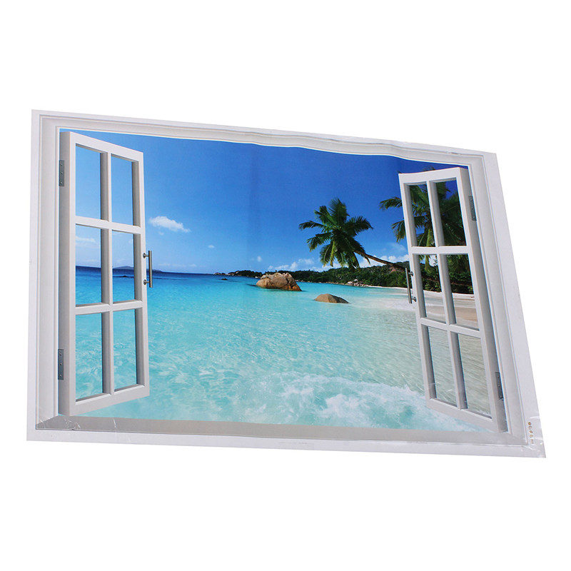 96 x 56cm 3d effects for palm beach window view removable for Home decor 96