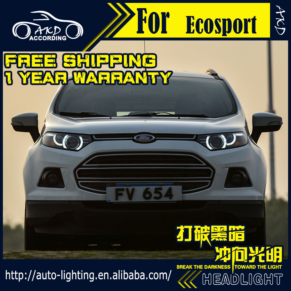 Car Styling Head Lamp for Ford Ecosport Headlights 2014-2016 Land Rover Design LED Headlight DRL Bi-Xenon HID Accessories(China (Mainland))