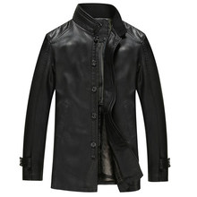 New Winter Sheep Genuine Leather Clothing Men's Stand Collar Medium-Long Leather Trench Male Single Breasted Thicken Coat /M-3XL(China (Mainland))