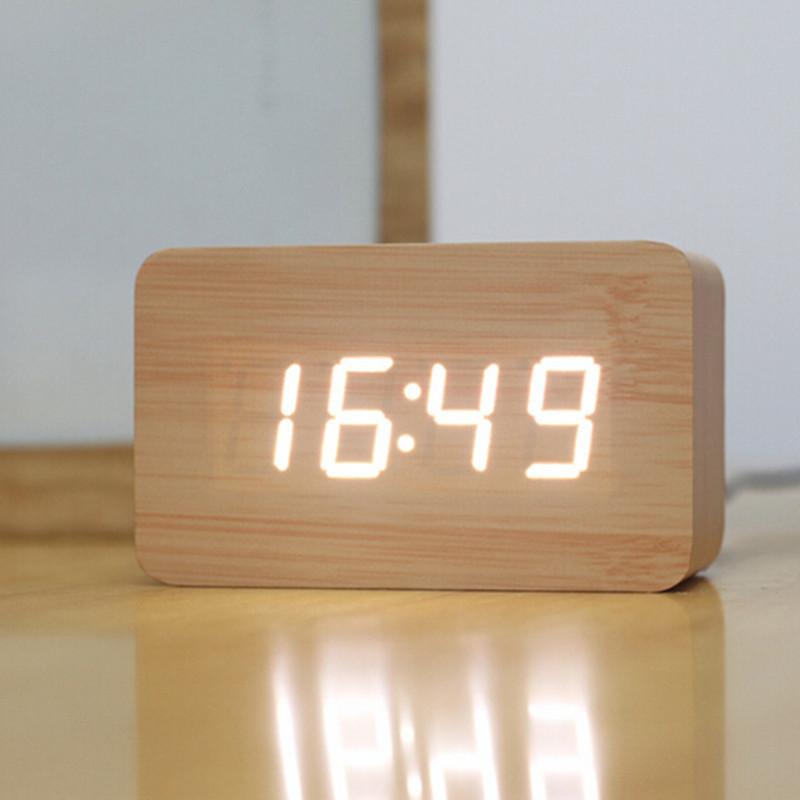 Creative Design Led Display Light Alarm Wood Clock Gadgets