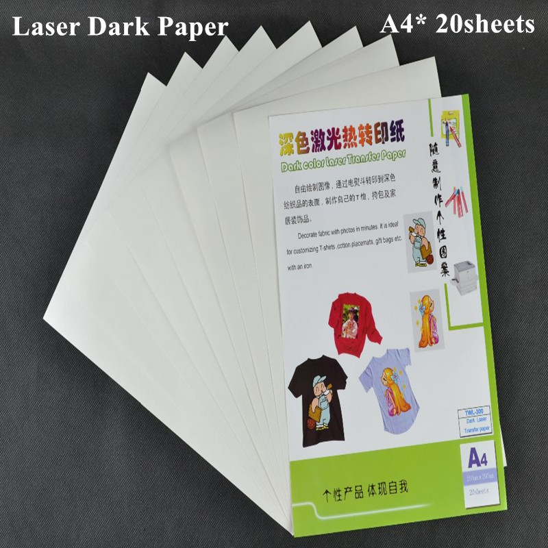 (A4*20pcs) Iron on Color Laser Heat Transfer Paper for Dark and Light fabrics Thermal Paper Papel Transfers Papers TWL-300(China (Mainland))