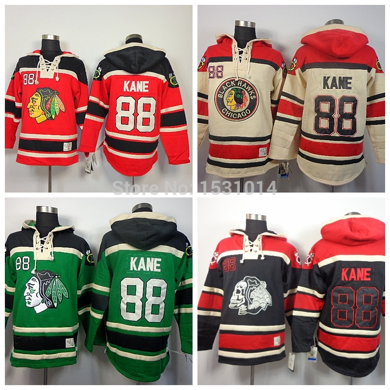 Hot Wholesale Chicago Blackhawks Old Time Hockey Hoodies #88 Patrick Kane Hoodie Skull Head Black Ice Heavyweight Stitched Hoodi