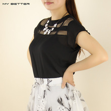 Summer Lace Women Blouse Sheer Hollow Elegant Ladies Chiffon Shirt White and Black Choose 1 pcs Clothes