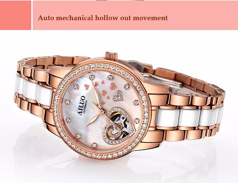 Бренд Моды Роскошь Сердце Выдалбливают Часы Женщины Автоматическая Платье Часы Дамы Керамические Алмаз Наручные Часы Водонепроницаемые Часы