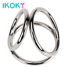 Buy IKOKY Penis Rings Stainless Steel Male Chastity Device Cock Rings Sex Toys Men Male Delay Ejaculation Three Cock Cages
