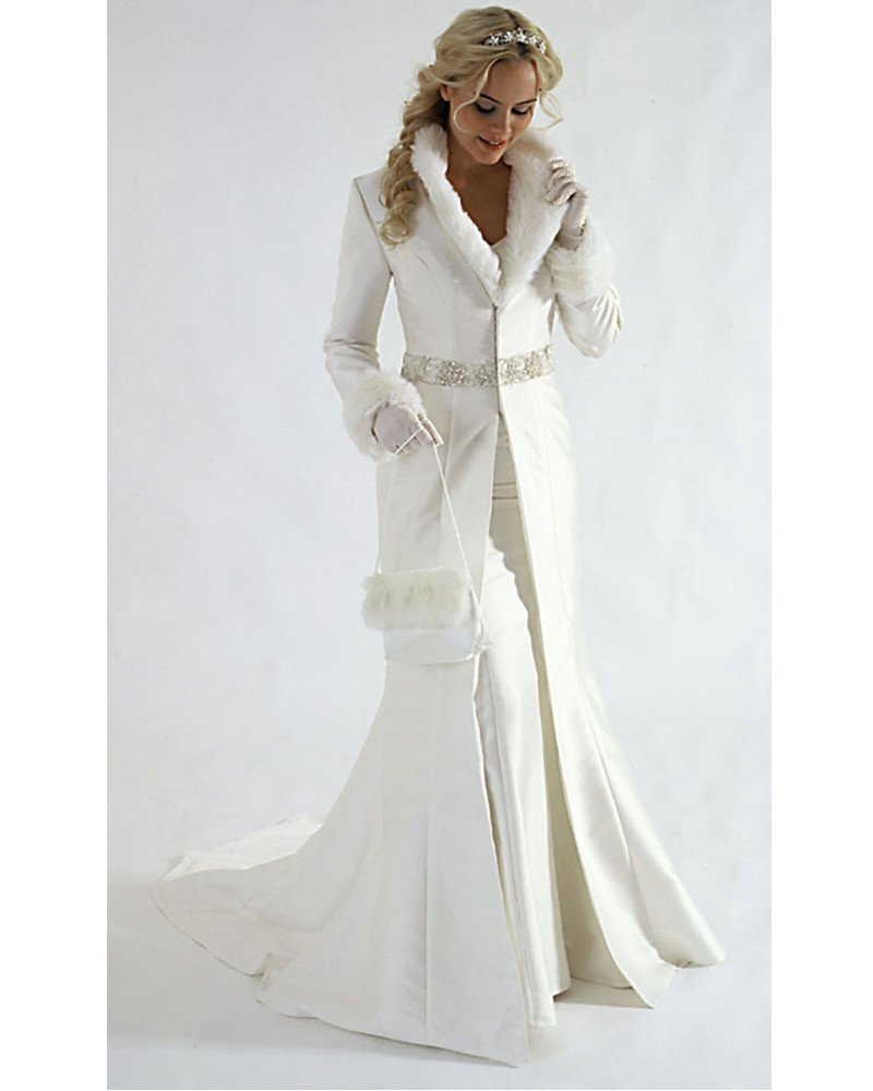 New arrivals winter wedding dress wedding coat v neck long for Long sleeve wedding dress for sale