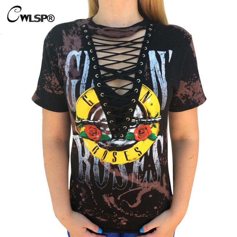 CWLSP GUN N ROSES Print T Shirt Women 2017 Rock Music Festival Hollow Tied V Neck Tees Tops lace kawaii t-shirt