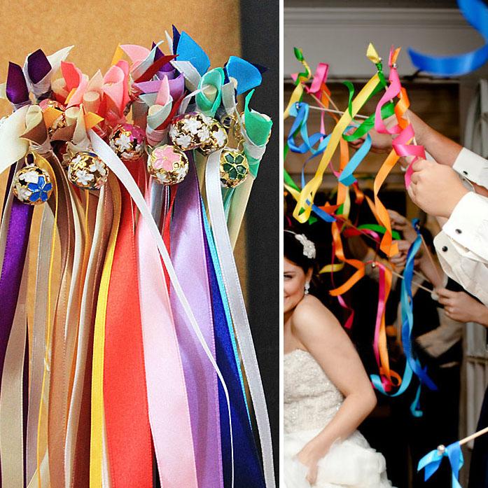 Fashion Wedding Ribbon Bell Fairy Stick Magic Wand Married Decoration Lace Wand Celebration Bell Stick Wedding Ribbon Wands Gift(China (Mainland))