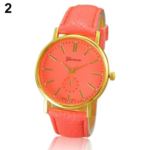 2015 New Natural Color Roman Numeral Geneva WristWatch Faux Leather Quartz Analog Wrist Watch<br><br>Aliexpress