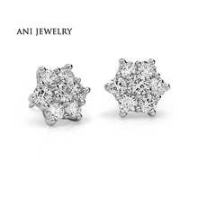 Buy ANI Platinum, Pt950 Women Stud Earrings 0.29 CT Certified I/S1 Natural Diamond Hexagon Stud Earrings Brand Jewelry Customized for $428.21 in AliExpress store
