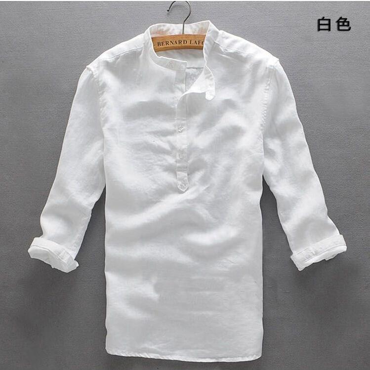 Hot 2015 summer New hemp Asia shirts Mandarin Collar big yards cotton shirt Three Quarter,men's linen S-XXL - Shanghai international trade Co., LTD store