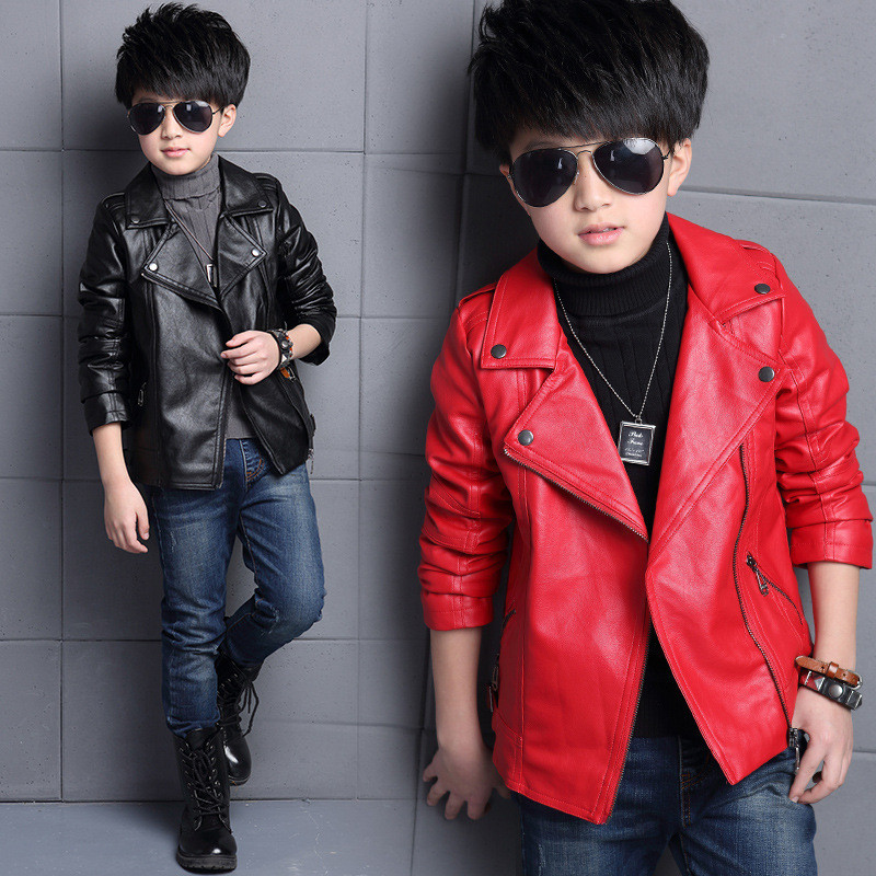 Boys PU Leather Jacket Spring Autumn Solid Coats Turn-down Collar Teenage Boy Jackets Casual Children Outerwear Kids Clothing()