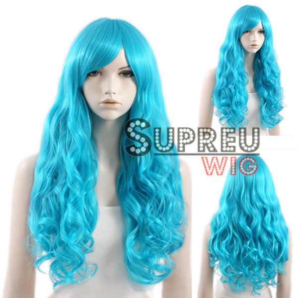 "28"" Heat Resistant Long Curly Peacock Blue Fashion Hair Wig with Bangs CM166(China (Mainland))"