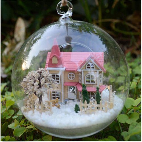 [해외]DIY 새로운 글래스 하우스 나무 핑크 빌라 인형 집 KitVoi..