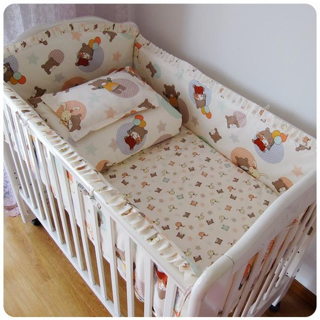Promotion! 6PCS Crib Baby Bedding Set Boy Infant Cotton Baby BedSheet Baby Bedding Set (bumpers+sheet+pillow cover)(China (Mainland))