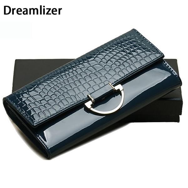Shining Women Genuine Leather Wallet Long 3 Fold Crocodile Women Purse Female Billeteras Cellphone Bag Hand Clutch Wallet(China (Mainland))