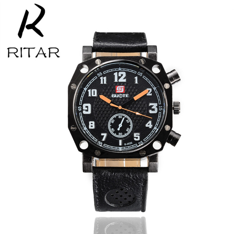 Ritar 2016 New Fashion Watch Womens Luxury 2 Colors Fake Monocular Watches China Quartz Wrist Dress Men's Leather Strap Watches(China (Mainland))