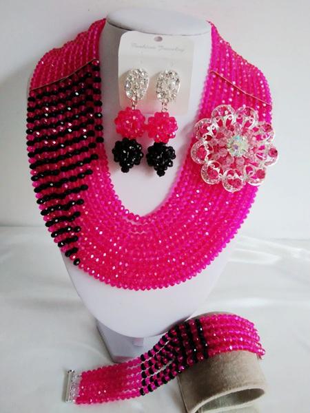 2016-Luxury African beads jewelry set Fuchsia Pink Crystal beads bride jewelry nigerian wedding african beads jewelry Set KL-544<br><br>Aliexpress