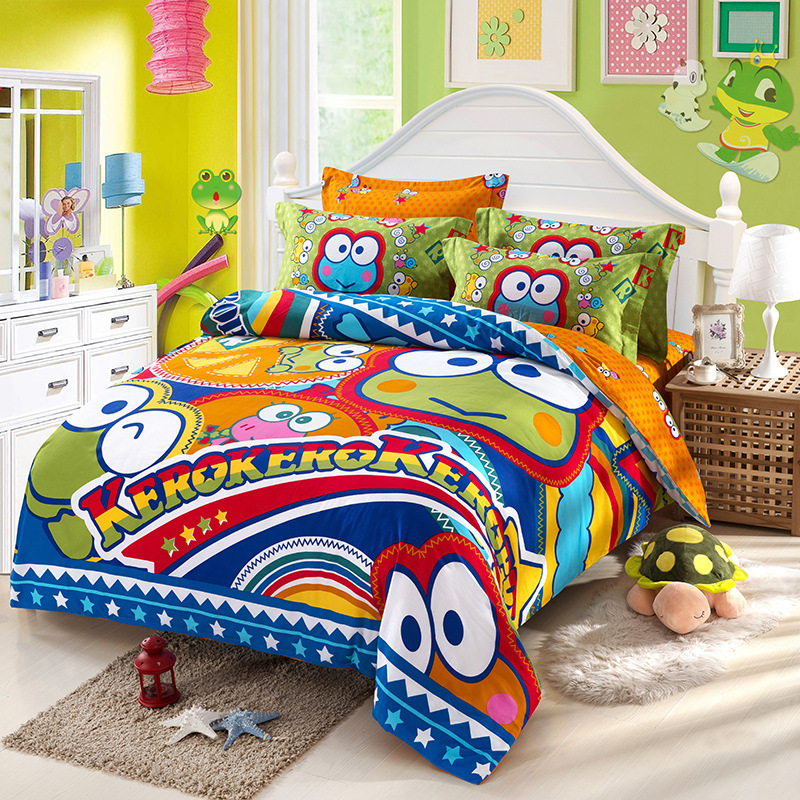 4pc Sanding Cotton Warm Bedding Set Hot Sale Bedclothes King Queen Size Cartoon Comforter Set