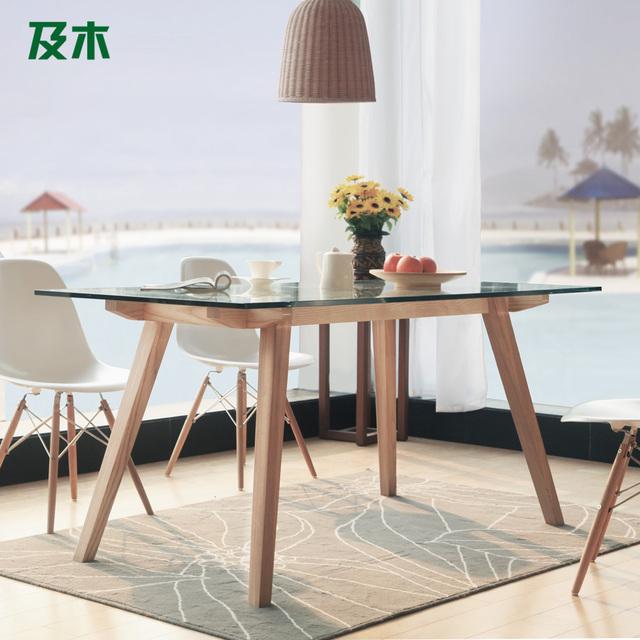 Y muebles de madera moderno de madera escandinava for Mesa de comedor cristal y madera