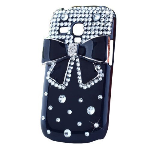 New Hot Cute 3D Crystal Bling Diamond Black Bow Bowknot Black Hard Back Case for Samsung Galaxy S3 Mini i8190 Free shopping(China (Mainland))