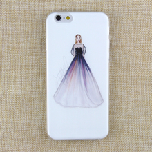 Apple IPhone 4 4S 5 5S SE 5C 6 6s 6PLUS 6SPLUS Soft TPU Silicone Transparent Noble Woman Wearing Purple Dress Cover Case - I LOVE store