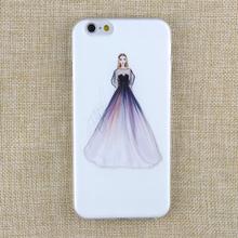 Apple IPhone 4 4S 5 5S SE 5C 6 6s 6PLUS 6SPLUS Soft TPU Silicone Transparent Noble Woman Wearing Purple Dress Cover Case - I LOVE store