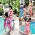 Irregular Mother Daughter Dresses Matching Summer Clothes 2017 Family Look Girl and Mother Dress Chiffon Beach