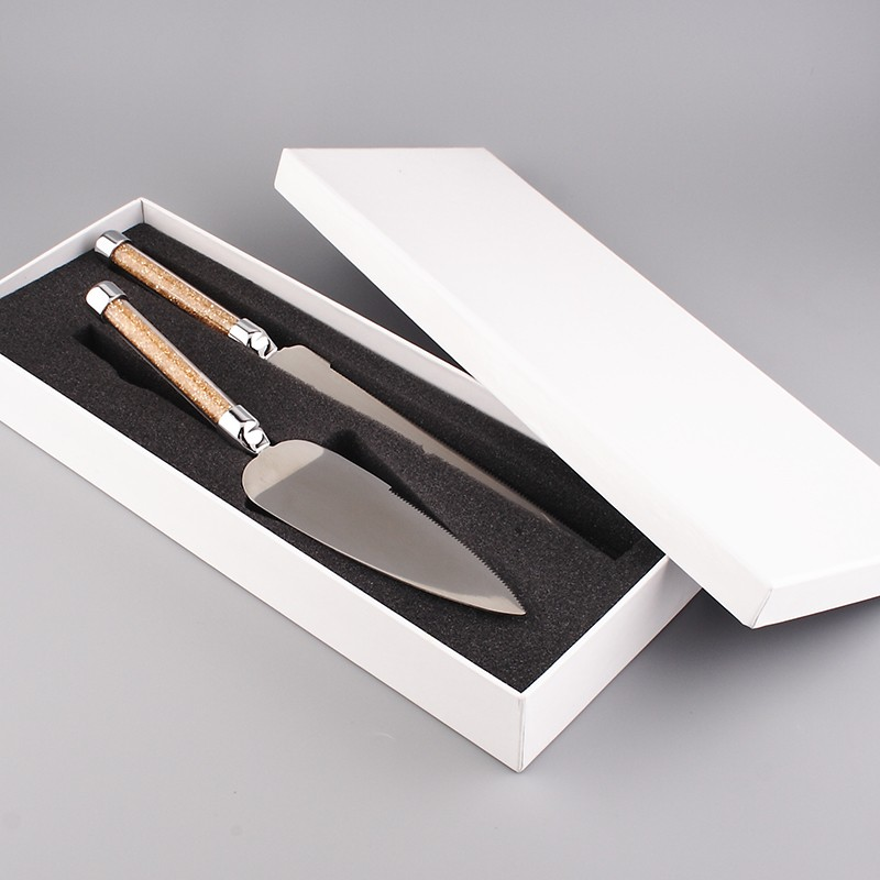 Buy 2015 hot sale crystal stainless steel 18/8 wedding cake knife and server with Exquisite gift box for party cheap