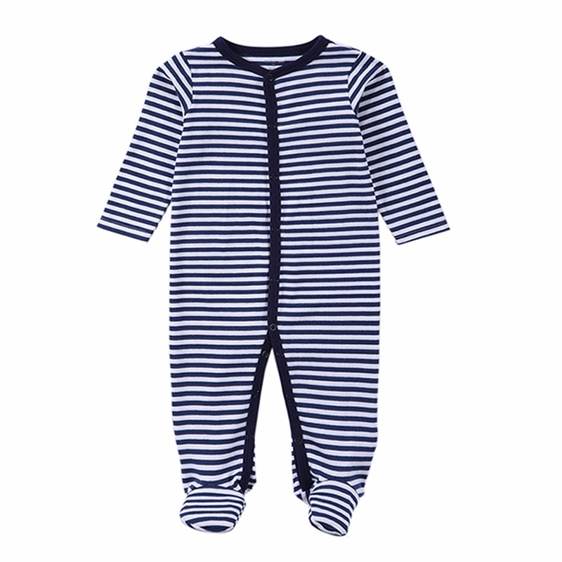 New 2016 Winter Soft and Comfortable Baby Clothes 100% cotton Black Stripped Baby Romper Climb Clothing Baby Footies (7)