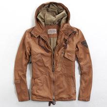 2016 New Avirex Hooded Men's multi-pocket Leather Jacket EU Size XXXL Genuine Sheepskin Men Winter Casual Coat FREE SHIPPING(China (Mainland))
