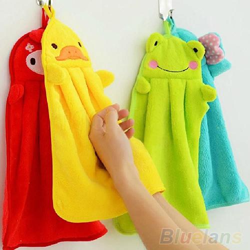 Nursery Hand Towel Soft Plush Fabric Cartoon Animal Hanging Wipe Bathing Towel 1T2R(China (Mainland))