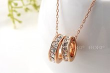 8 19 ROXI brand 2014 fashion necklace rose Gold Crystal Necklace pendants with austrian crystal necklace