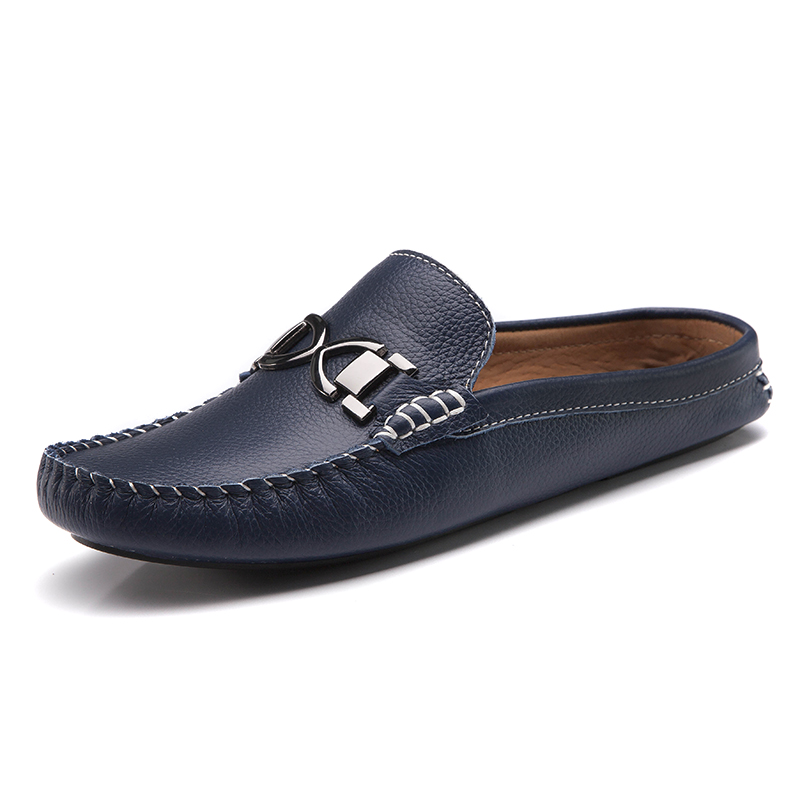 New Summer Loafers Men Genuine Leather Slippers Casual Shoes Moccasins Men Shoes Slip On High Quality<br><br>Aliexpress