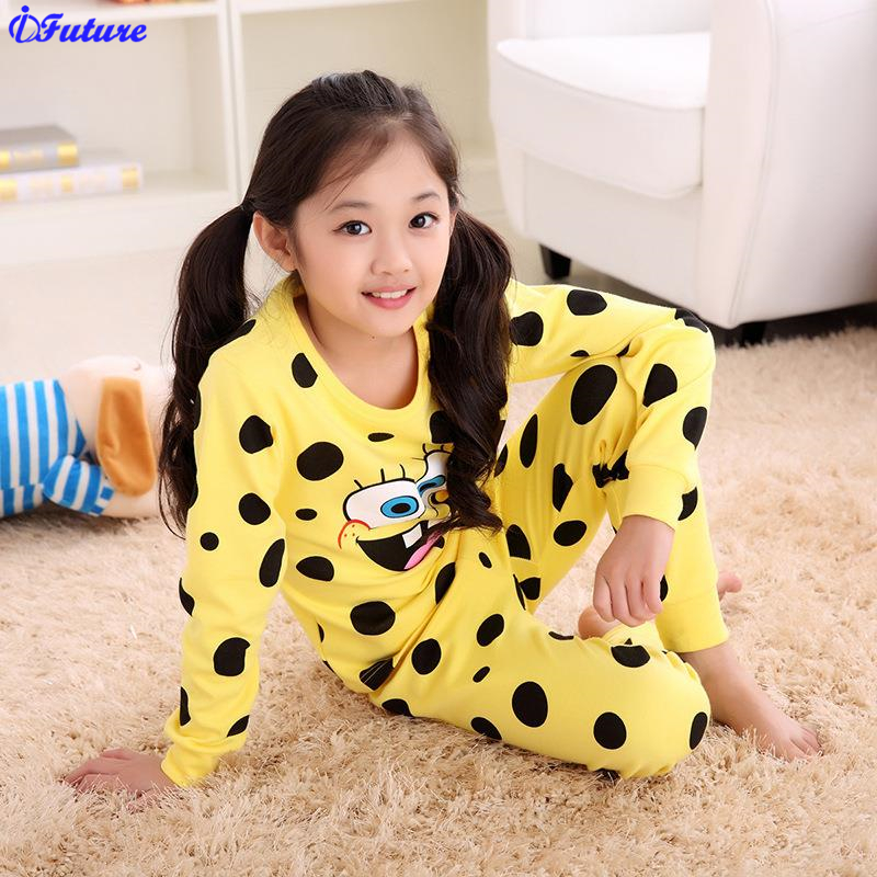 Kids Cotton Underwear Suit Sponge Bob Girl Sleepwear Trousers Cartoon Suit Children Spring Autumn Clothes Robe Boys Pajama Sets(China (Mainland))