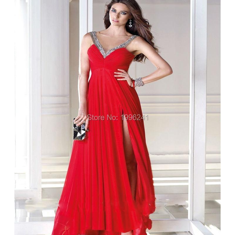 2016 Hot Selling Customized Sparkling V-neck Crystal Evening Dress chiffon Sleeveless empire Waist Sexy Party dress(China (Mainland))