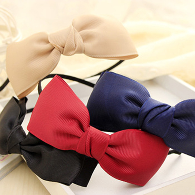 New Fashion Big Bows Girls Headband with Grosgrain Ribbon Hair Band for Women Headwear Hair Accessories(China (Mainland))