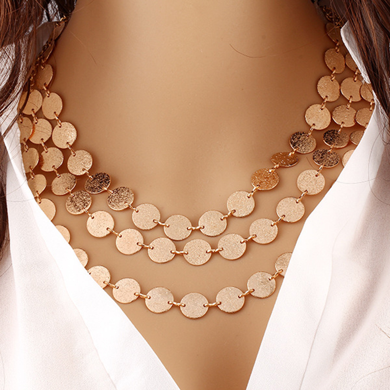 2016 New Hot Female Necklace Fashion Gold Charm Necklaces Chain Choker Chunky Statement Bib Necklace Jewelry Woman wn085(China (Mainland))