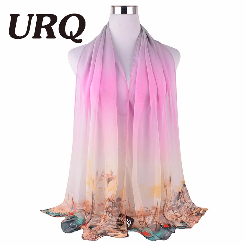 Fashion NEW arrival Sheer Chiffon Scarf Brand URQ Women Ombre colors georgette silk scarves shawl female long Q5A16540(China (Mainland))