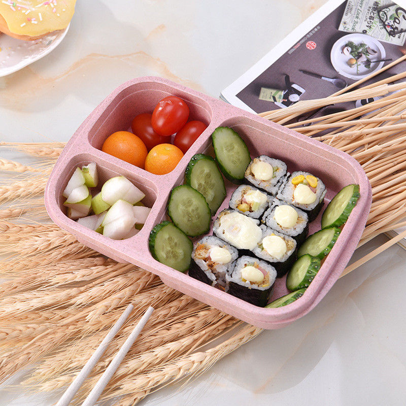 Wheat Non-pollution Microwave Bento Lunch Box Picnic Food Container Storage Box