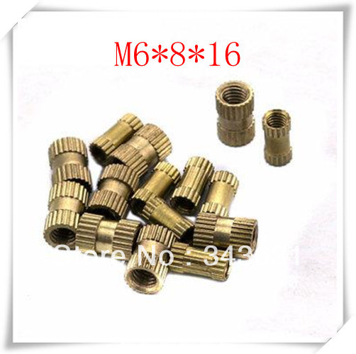 High quality M6*16 copper insert nuts/  M6*16 brass knurled nut for injection moulding nuts (200pcs/lot)<br><br>Aliexpress