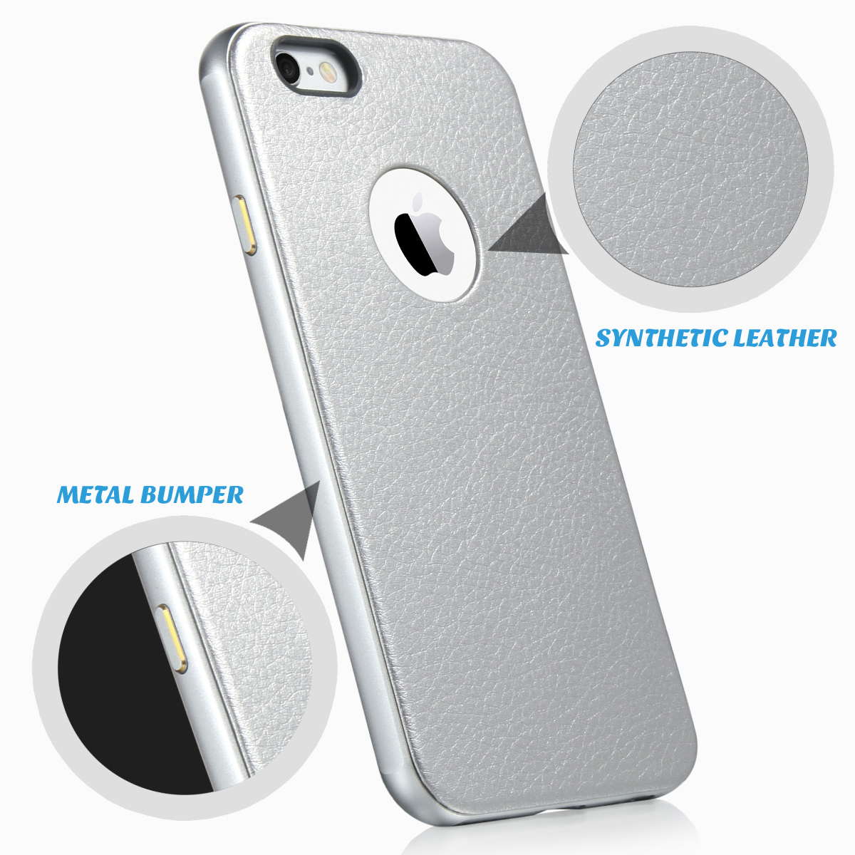 ULAK Luxury Metal Aluminum Frame+Synthetic Leather Back Case Cover for Apple iPhone 6S & iPhone 6 4.7inch(China (Mainland))