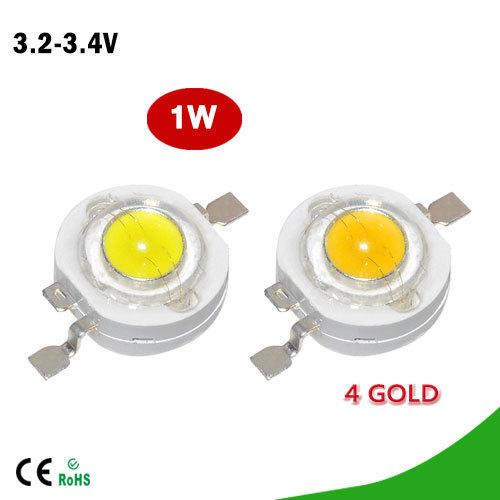 100Pcs/lot Full Watt 1W High Power LED lamp Beads 110-120LM LEDs Bulb light Emitting Diodes SMD Chip White for 3W -18W Spotlight(China (Mainland))