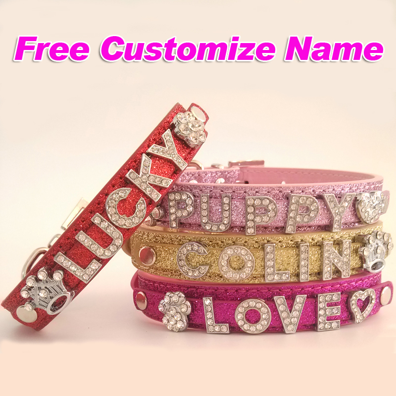 Customized Free Name Bling Personalized Dog Collar Rhinestone Small Puppy Cat Necklace Buckle Red Rose Pink Gold(China (Mainland))