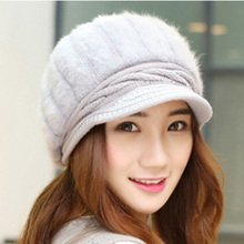 2015 new style warm headwear soft black cheap visor beret women discount free shipping rabbit fur winter knit hat(China (Mainland))