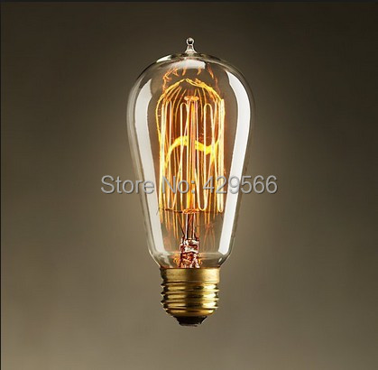 10pcs/lot Free Shipping ST58 Vintage Incandescent Edison Style Light Bulbs E27 40W 220-240V for Chandelier(China (Mainland))