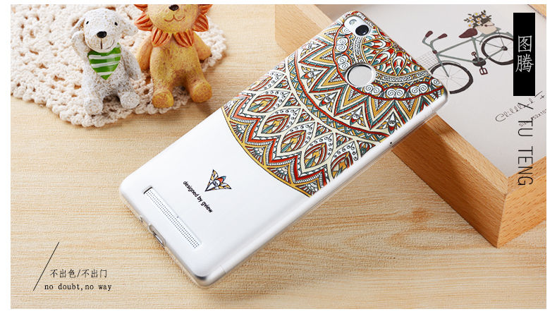 2016 Redmi 3s 3D Relief Print Transparent Soft TPU Back Cover Case For Xiaomi Redmi 3 Pro Phone Bag Coque Hot New Style(China (Mainland))