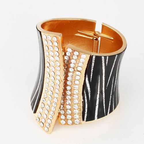 2013 Fashion Punk Style Gold Alloy Rhinestone Leather Colorful Opening Bangle Women Bracelet Birthday Gift - Jewelry Home's store