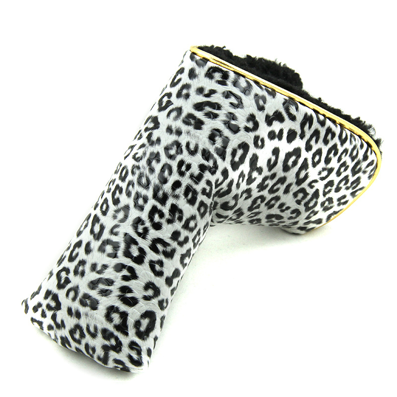 Leopard Grid Putter Cover Headcover Golf Head Covers PU Leather Blade Club Protector(China (Mainland))